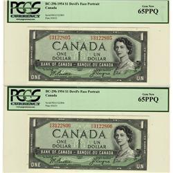 1954 $1 BC-29b lot of 2 consecutive notes both PCGS UNC65PPQ