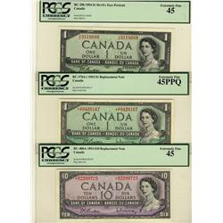 1954 $1 BC-29b, $1 BC-37bA-i *A/F, $10 BC-40bA *B/D all PCGS EF45