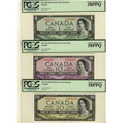 1954 $1 BC-29b, $10 BC-32b, $20 BC-33b all PCGS AU58PPQ