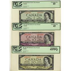1954 $1 BC-29b, $10 BC-32b, $20 BC-33b, all PCGS EF45