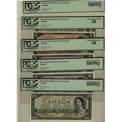 1954 $1 BC-29b, $2 BC-30b, $5 BC-31b, $10 BC-32b, $20 BC-33b, all PCGS AU58