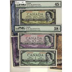 1954 $1 BC-29b, $5 BC-31b, $10 BC-32b AU58 & $20 BC-33a EF45.  Four Devil's Face examples EF to AU+