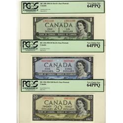 1954 $1 BC-29b, $5 BC-31b, $20 BC-33b all PCGS UNC64PPQ