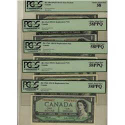 1954 $1 BC-29b, BC-37aA *A/A, BC-37bA *H/Y, BC-37bA *S/O, BC-37bA *O/Y lot of 5 notes all PCGS AU58
