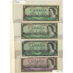 1954 $1 BC-37aA #*AA0089463, BC-37bA #*HY, #*AF & $10 BC-40bA #*BD.  Lot of 4 AU to UNC replacement