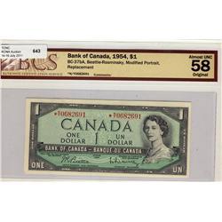 1954 $1 BC-37bA #*NY0682691 BCS AU58.