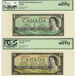 1954 $1 BC-37bA *A/Y, $20 BC-41b , both PCGS UNC66PPQ