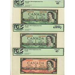 1954 $1 BC-37bA-i *A/F, $1 BC-37dA *X/F, $2 BC-38cA *A/G all PCGS UNC63