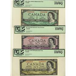 1954 $1 BC-37bA-i *A/F, $10 BC-32b, $20 BC-41bA *A/E all PCGS AU55PPQ
