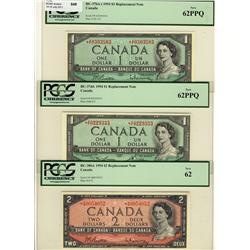 1954 $1 BC-37bA-i *A/F, 1954 $1 BC-37dA *X/F and 1954 $2 BC-38bA *A/B lot of 3 notes all PCGS UNC62