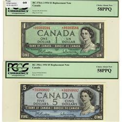 1954 $1 BC-37bA-i *A/F, 1954 $5 BC-39bA *S/S both PCGS AU58PPQ