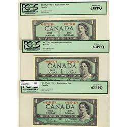 1954 $1 BC-37bA-i *A/F, BC-37dA *X/F, BC-37cA *C/F lot of 3 notes all PCGS MS63PPQ