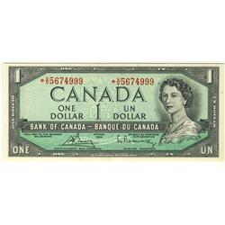 1954 $1 BC-37cA #*VV5674999.  Very rare prefix in a sharp UNC grade.  Should be viewed.