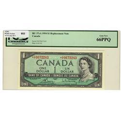1954 $1 BC-37cA *C/F0672243 PCGS UNC66PPQ