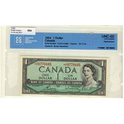 1954 $1 BC-37cA *H/F0779485 CCCS UNC60. Another better replacement.