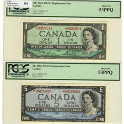 1954 $1 BC-37dA *X/F, 1954 $5 BC-39bA *S/S both PCGS AU53PPQ