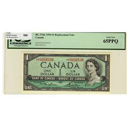 1954 $1 BC-37dA *X/F0242536 PCGS UNC65PPQ