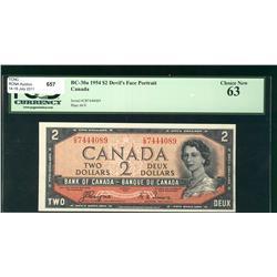 1954 $2 BC-30a #CB74444089, PCGS Choice UNC63.