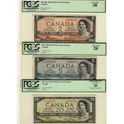 1954 $2 BC-30a, $5 BC-31b, $20 BC-33a, all PCGS VF30 except $5 PCGS VF20
