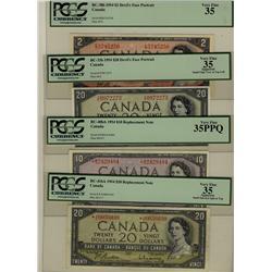 1954 $2 BC-30b, $20 BC-33b, $10 BC-40bA *B/D, $20 BC-41bA *A/E all PCGS VF35