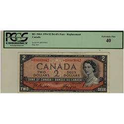 1954 $2 BC-30bA *A/B0009042 PCGS EF40, rare replacement note.