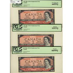 1954 $2 BC-38bA *A/B0109753-55 lot of 3 consecutives notes PCGS UNC64-65-66