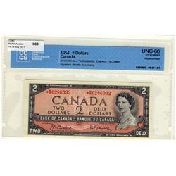 1954 $2 BC-38bA *R/R0286032 CCCS UNC60. A rare replacement.
