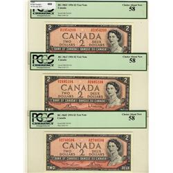1954 $2 BC-38bT S/R, $2 BC-38cT S/R, $2 BC-38dT S/R, lot of 3 TEST notes,  all PCGS AU58