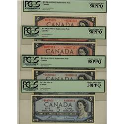 1954 $2 BC-38cA *A/G BC-38ba *A/B, $5 BC-39cA *R/X BC-39c, lot of 4 notes all PCGS AU58PPQ