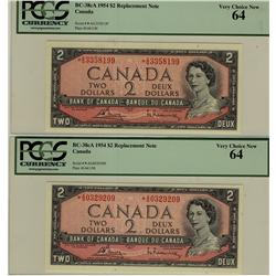 1954 $2 BC-38cA *A/G3358199and *A/G0329209 both PCGS UNC64PPQ