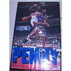 Penny Hardaway handsigned poster, with Michael Jordan in background