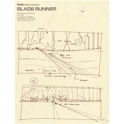 Original Ridleygram of Deckard's departure from Los Angeles from Blade Runner
