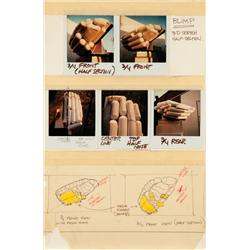 Original Ridleygram and Polaroids of study model of the Off World Blimp from Blade Runner