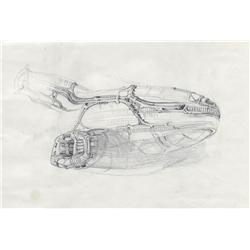 James Cameron hand-drawn sketch of derelict ship from Aliens