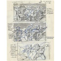 Hand-drawn storyboards from Masters of the Universe