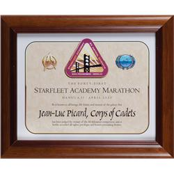 """Starfleet Academy Marathon"" wall placard from Star Trek: First Contact"