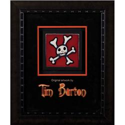 Original hand-painted skull and crossbones tile by Tim Burton from his home