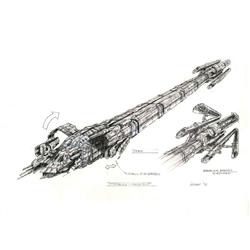 Original concept drawings of the Merchant Vessel from Pitch Black