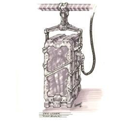"""Vin Diesel """"Richard B. Riddick"""" Cryo Locker miniature and concept drawing from Pitch Black"""
