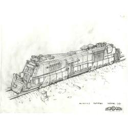 Mars armored train, train station pylons and train concept drawing from Ghosts of Mars