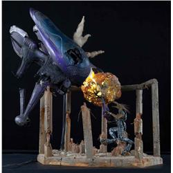 """Banshee spaceship, Jackal figure and building ruins from Halo 3 """"Believe"""" advertising campaign"""