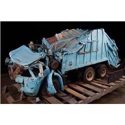 Garbage truck filming miniature and driver puppet from The Dark Knight