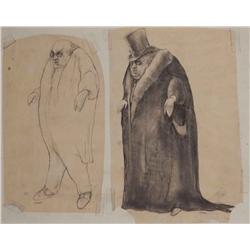 """Pair of Mark """"Crash"""" McCreery conceptual drawings for """"The Penguin"""" from Batman Returns"""