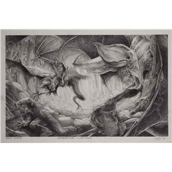 Conceptual artwork for Probe Bats attacking a man from Godzilla