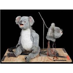 Screen-used cable-actuated koala puppet and animatronic head from Little Debbie snack commercial