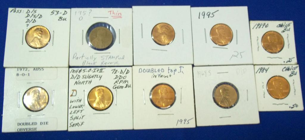 Lot-Pennies w/ Mint Errors example 1972 AU55 DDO
