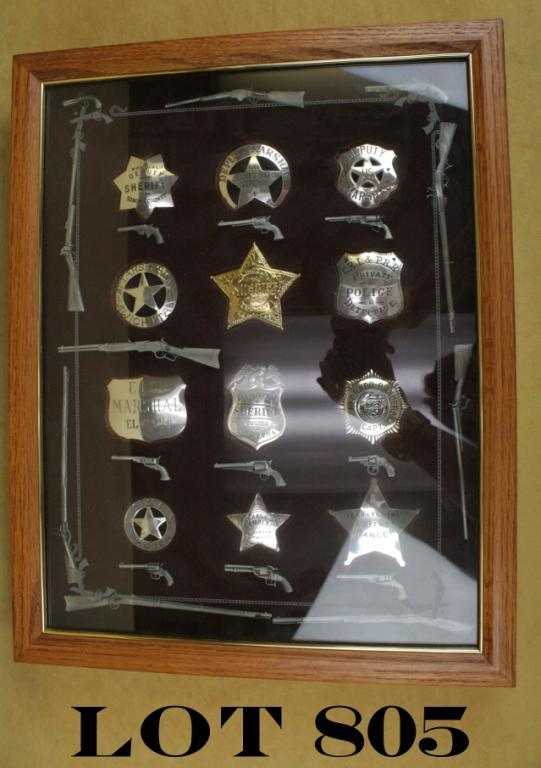 Wood and glass framed shadowbox of 12 reproduction old