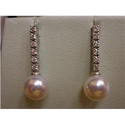 MIKIMOTO Morning Dew Long Earrings 18K WHITE GOLD PINK PEARL & DIAMOND