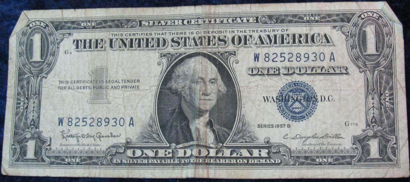 dollar certificate 1957 vg