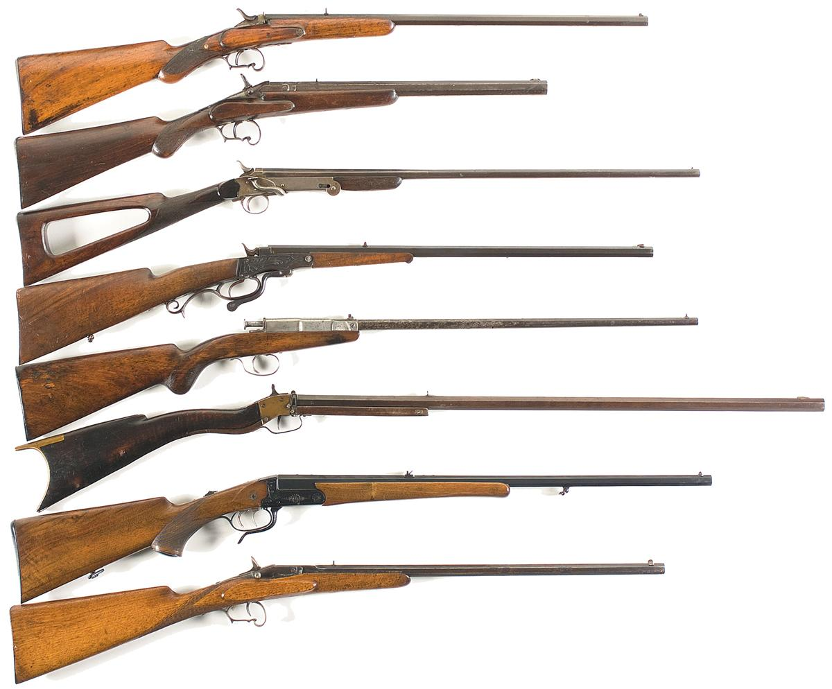 Seven European Single Shot Rifles and One Shotgun- A) Belgium Single Shot  Rifle